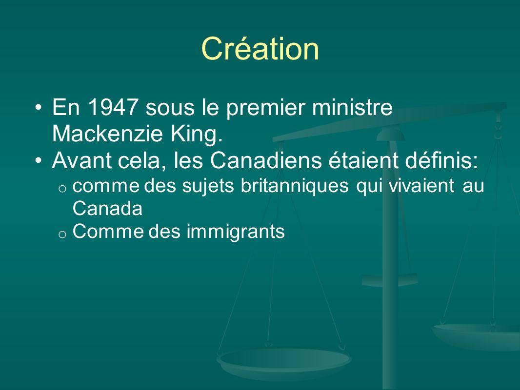 Création En 1947 sous le premier ministre Mackenzie King. Avant cela, les Canadiens étaient définis: o comme des sujets britanniques qui vivaient au C