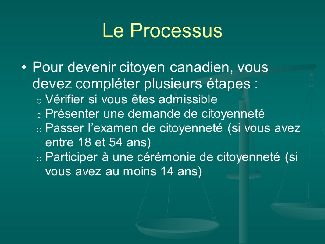 Le Processus Pour devenir citoyen canadien, vous devez compléter plusieurs étapes : o Vérifier si vous êtes admissible o Présenter une demande de cito