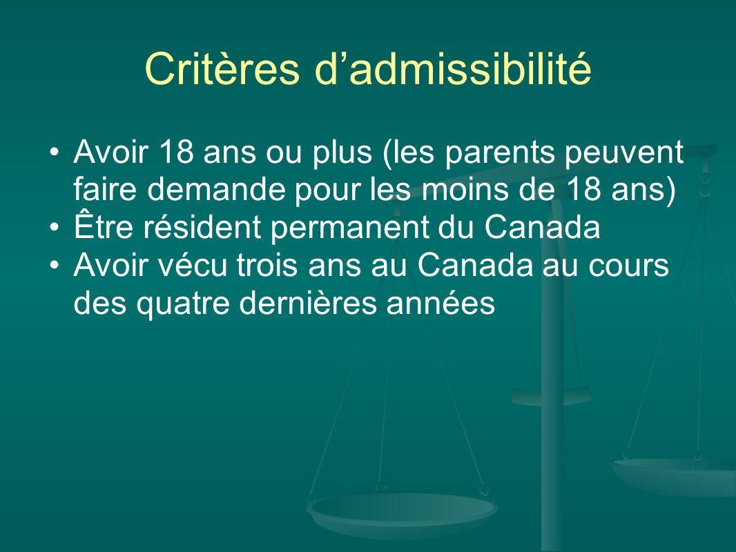 Critères dadmissibilité (cont) Pouvoir communiquer en anglais ou en français connaître lhistoire, la géographie et la politique canadiennes connaître les droits et responsabilités lies a la citoyenneté.