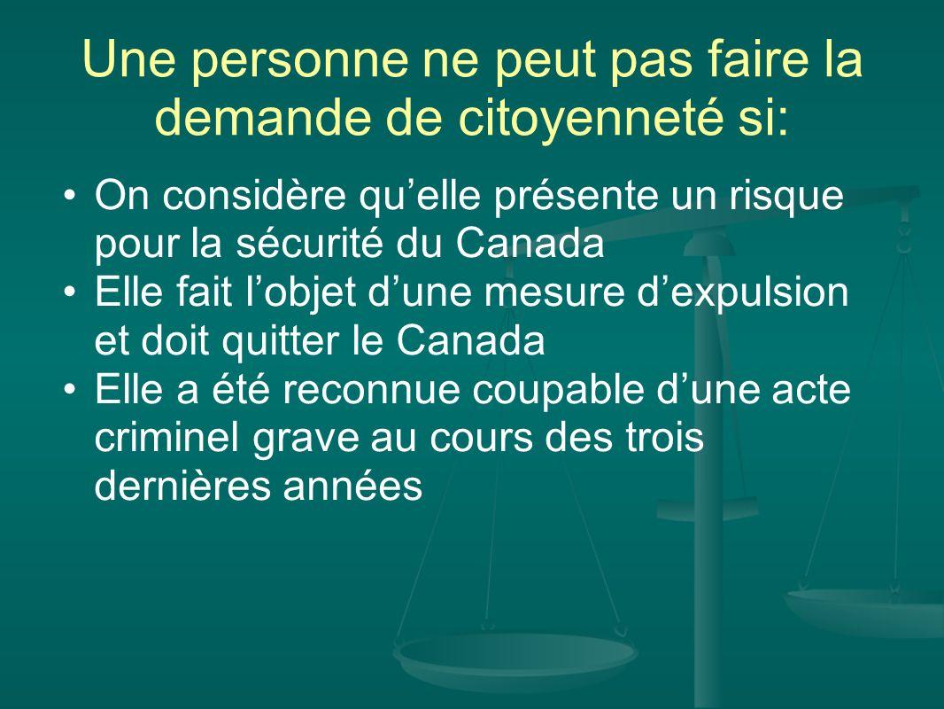 Une personne ne peut pas faire la demande de citoyenneté si: On considère quelle présente un risque pour la sécurité du Canada Elle fait lobjet dune m