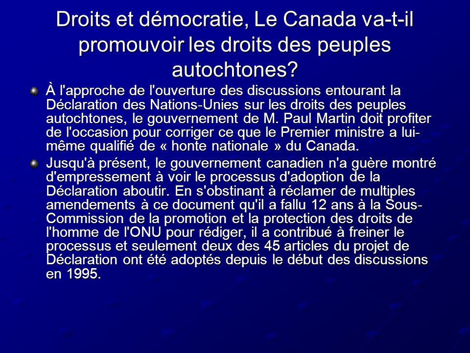 Droits et démocratie, Le Canada va-t-il promouvoir les droits des peuples autochtones.