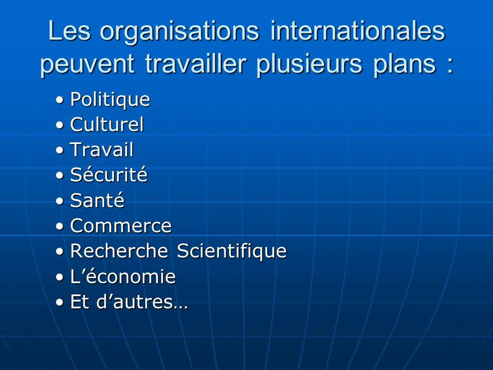 Les organisations internationales peuvent travailler plusieurs plans : PolitiquePolitique CulturelCulturel TravailTravail SécuritéSécurité SantéSanté