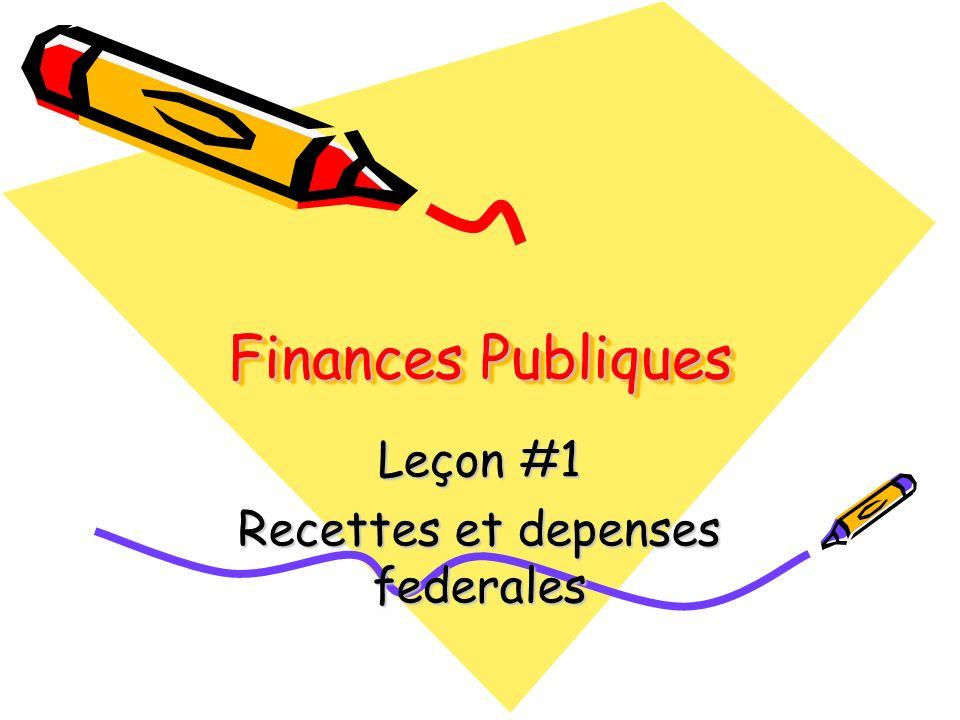 Finances Publiques Leçon #1 Recettes et depenses federales