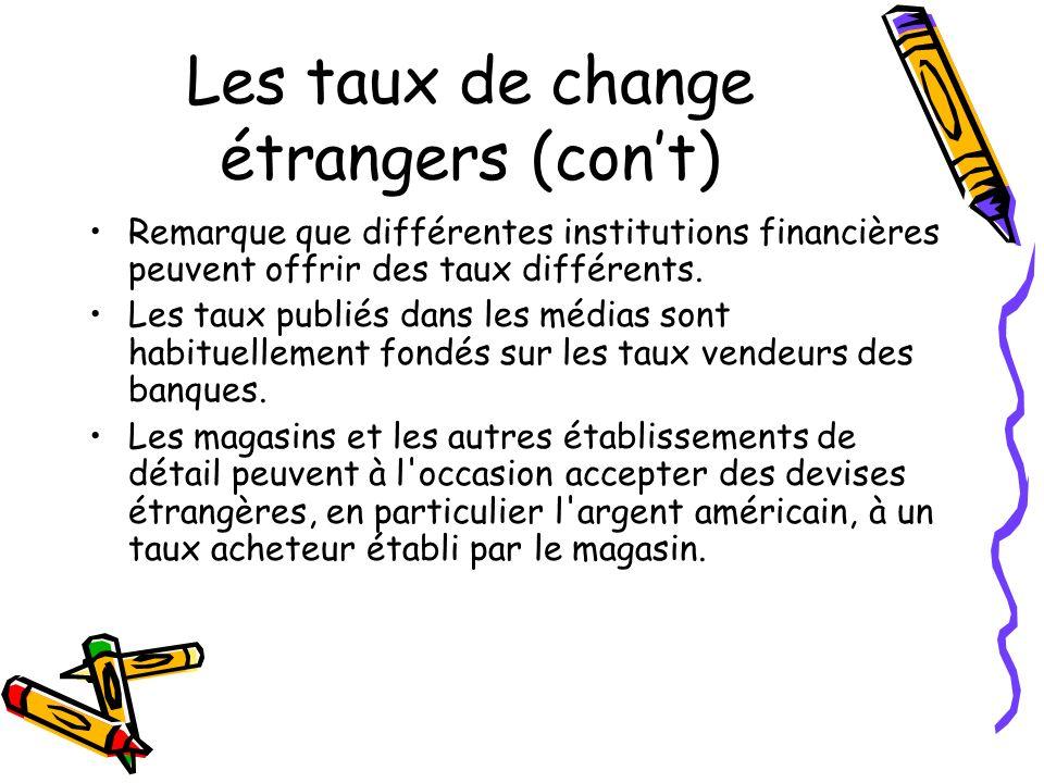 Les taux de change étrangers (cont) Remarque que différentes institutions financières peuvent offrir des taux différents.