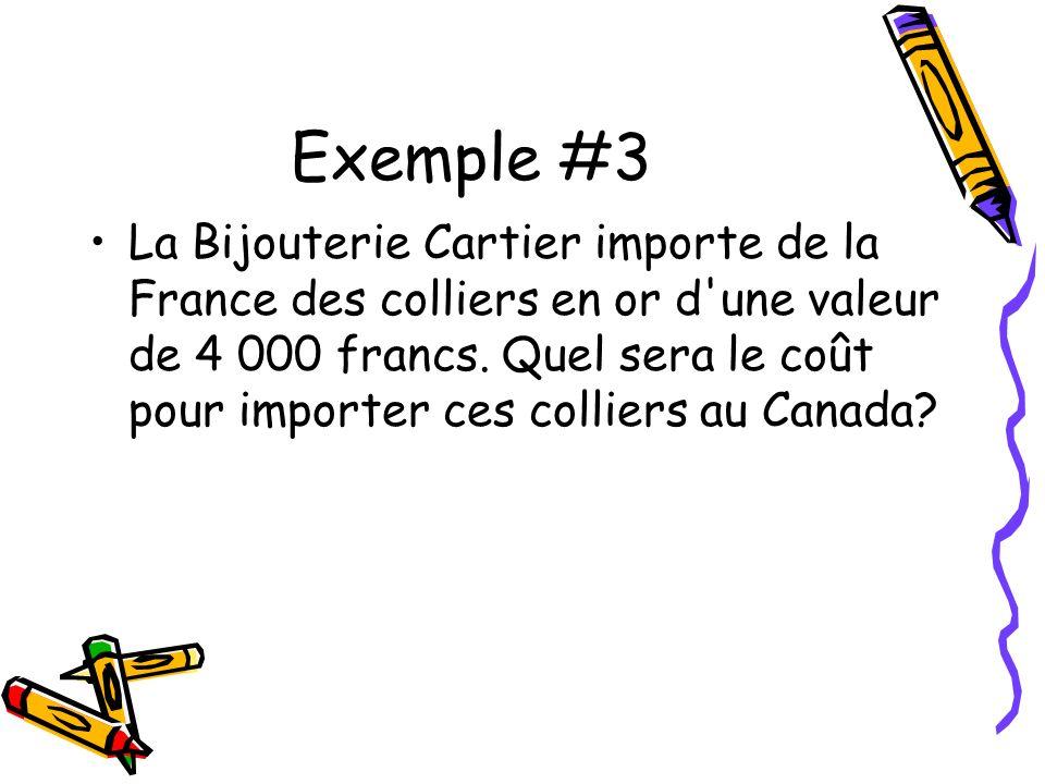 Exemple #3 La Bijouterie Cartier importe de la France des colliers en or d une valeur de 4 000 francs.