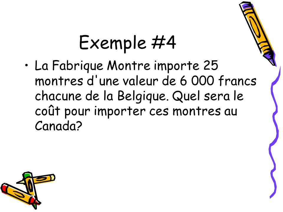 Exemple #4 La Fabrique Montre importe 25 montres d une valeur de 6 000 francs chacune de la Belgique.