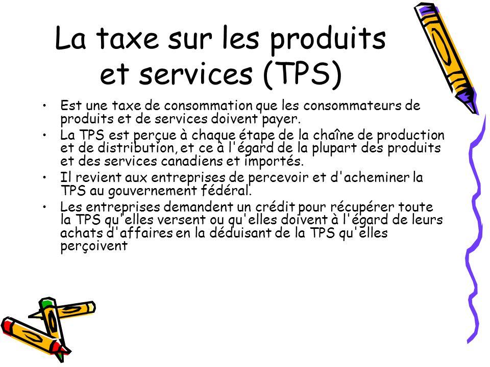 La taxe sur les produits et services (TPS) Est une taxe de consommation que les consommateurs de produits et de services doivent payer.