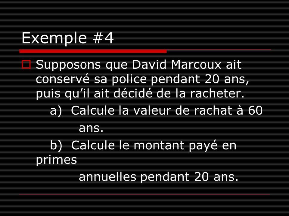 Exemple #4 Supposons que David Marcoux ait conservé sa police pendant 20 ans, puis quil ait décidé de la racheter. a) Calcule la valeur de rachat à 60