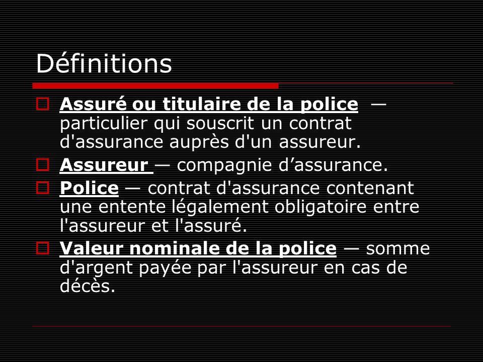 Définitions Assuré ou titulaire de la police particulier qui souscrit un contrat d'assurance auprès d'un assureur. Assureur compagnie dassurance. Poli