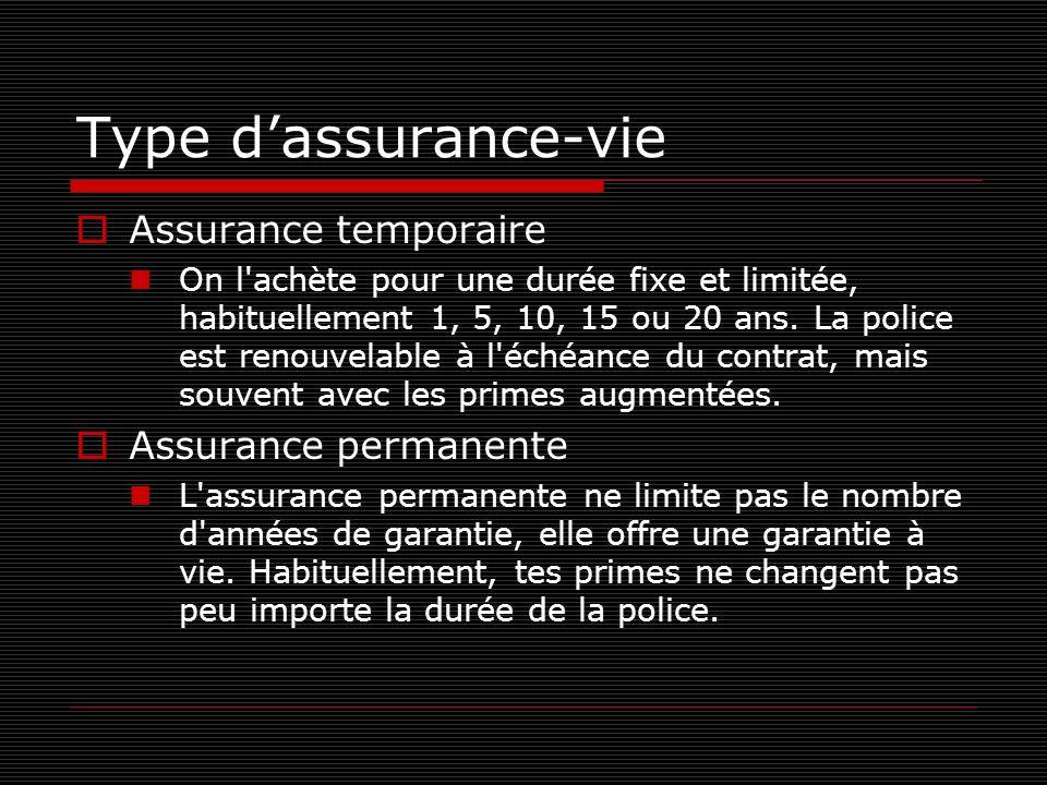 Type dassurance-vie Assurance temporaire On l'achète pour une durée fixe et limitée, habituellement 1, 5, 10, 15 ou 20 ans. La police est renouvelable