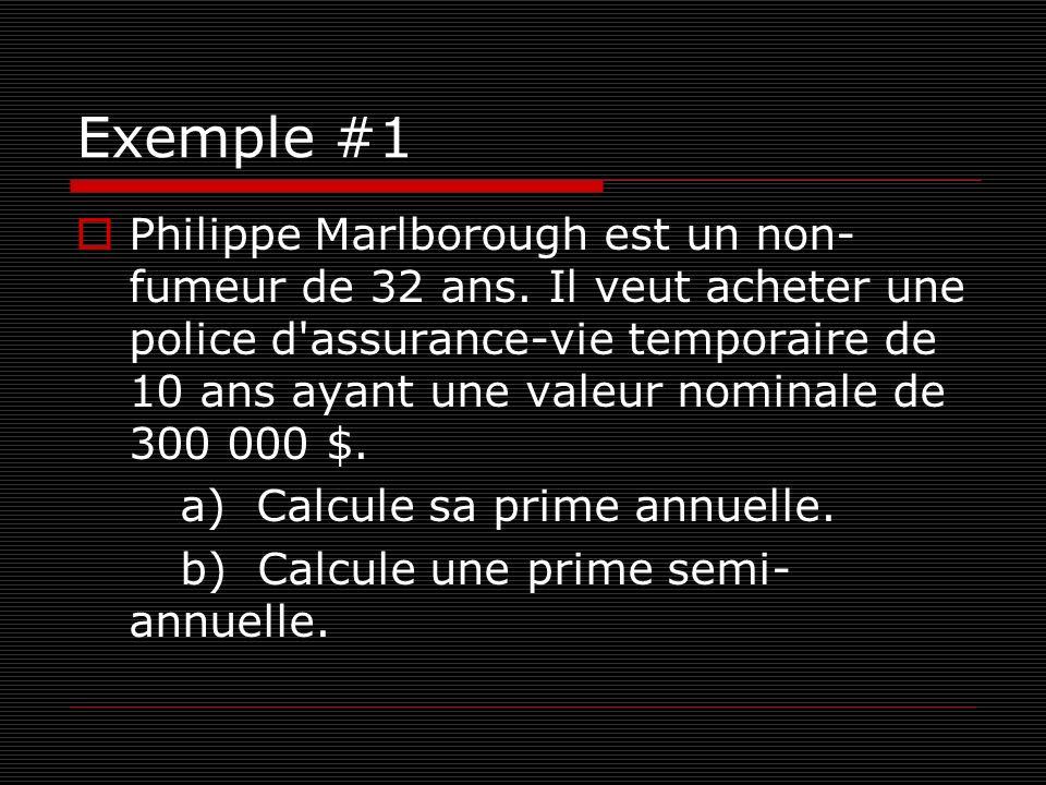 Solution a) Voir Tableau 1 Assurance-vie temporaire.