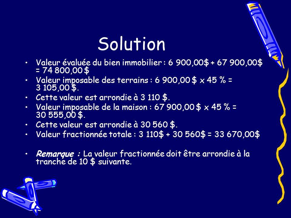 Solution Valeur évaluée du bien immobilier : 6 900,00$ + 67 900,00$ = 74 800,00 $ Valeur imposable des terrains : 6 900,00 $ x 45 % = 3 105,00 $.