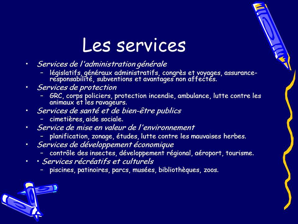 Les services Services de l administration générale –législatifs, généraux administratifs, congrès et voyages, assurance- responsabilité, subventions et avantages non affectés.