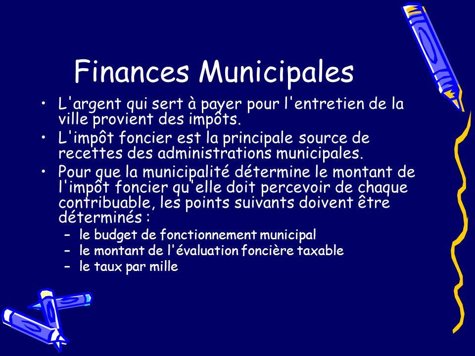 Finances Municipales L argent qui sert à payer pour l entretien de la ville provient des impôts.