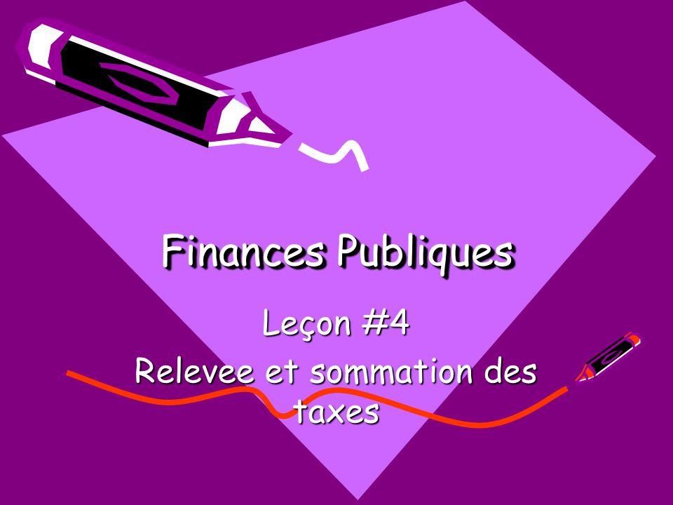 Finances Publiques Leçon #4 Relevee et sommation des taxes