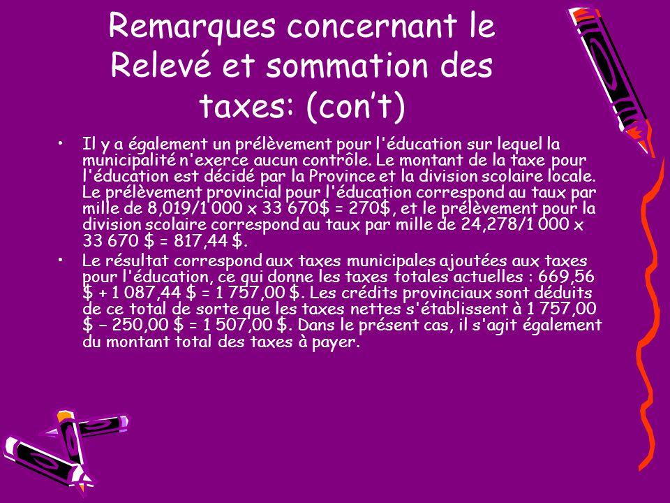 Remarques concernant le Relevé et sommation des taxes: (cont) Il y a également un prélèvement pour l éducation sur lequel la municipalité n exerce aucun contrôle.