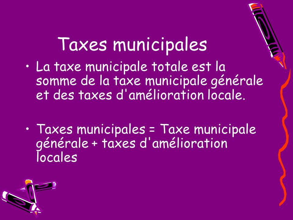 Taxes municipales La taxe municipale totale est la somme de la taxe municipale générale et des taxes d'amélioration locale. Taxes municipales = Taxe m