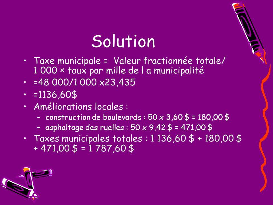 Solution Taxe municipale = Valeur fractionnée totale/ 1 000 × taux par mille de l a municipalité =48 000/1 000 x23,435 =1136,60$ Améliorations locales : –construction de boulevards : 50 x 3,60 $ = 180,00 $ –asphaltage des ruelles : 50 x 9,42 $ = 471,00 $ Taxes municipales totales : 1 136,60 $ + 180,00 $ + 471,00 $ = 1 787,60 $