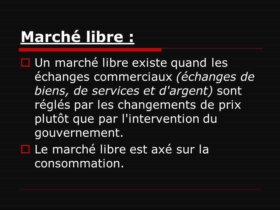 Marché libre : Un marché libre existe quand les échanges commerciaux (échanges de biens, de services et d argent) sont réglés par les changements de prix plutôt que par l intervention du gouvernement.