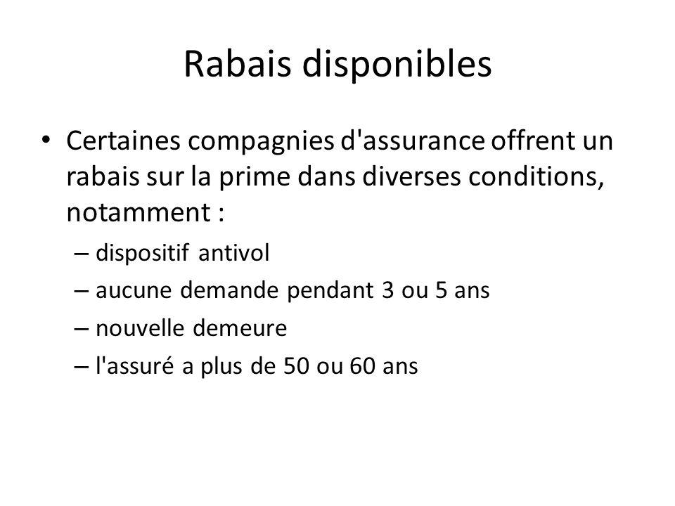 Rabais disponibles Certaines compagnies d'assurance offrent un rabais sur la prime dans diverses conditions, notamment : – dispositif antivol – aucune