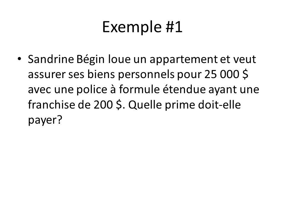 Exemple #1 Sandrine Bégin loue un appartement et veut assurer ses biens personnels pour 25 000 $ avec une police à formule étendue ayant une franchise