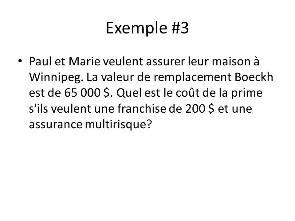 Exemple #3 Paul et Marie veulent assurer leur maison à Winnipeg. La valeur de remplacement Boeckh est de 65 000 $. Quel est le coût de la prime s'ils