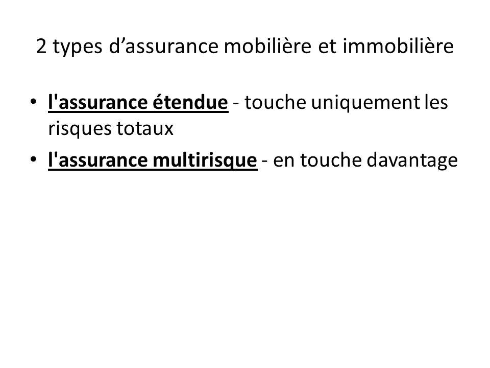 2 types dassurance mobilière et immobilière l'assurance étendue - touche uniquement les risques totaux l'assurance multirisque - en touche davantage