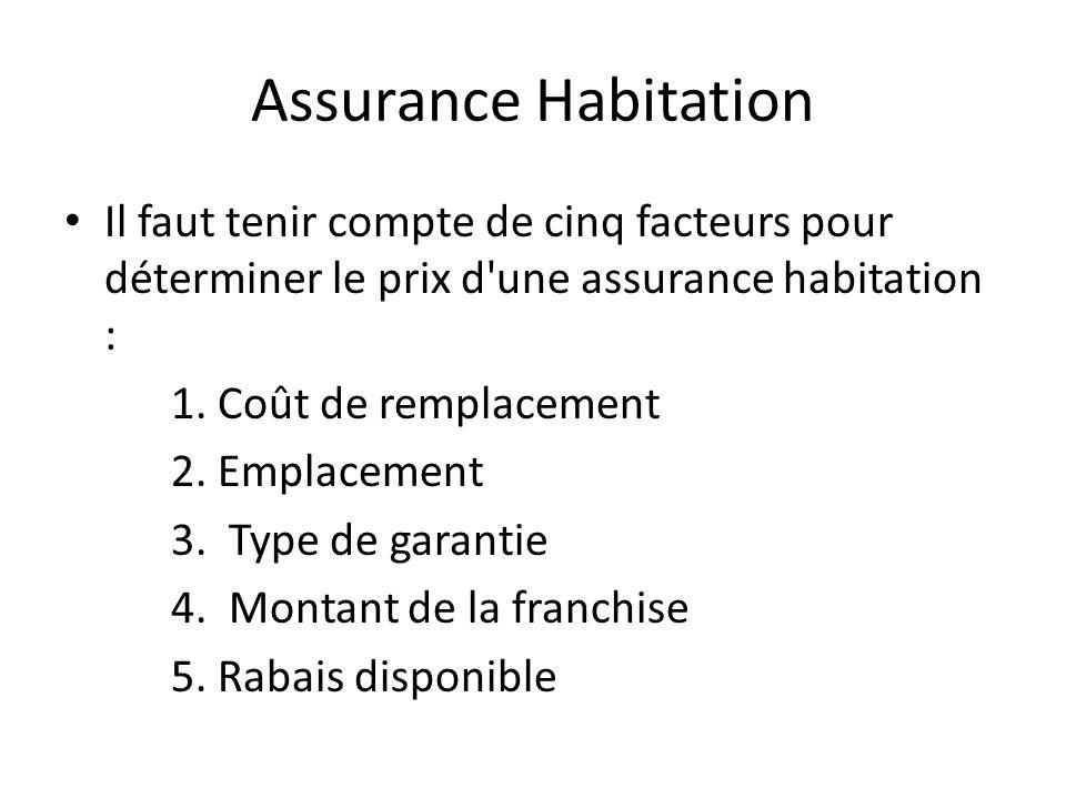 Assurance Habitation Il faut tenir compte de cinq facteurs pour déterminer le prix d'une assurance habitation : 1. Coût de remplacement 2. Emplacement