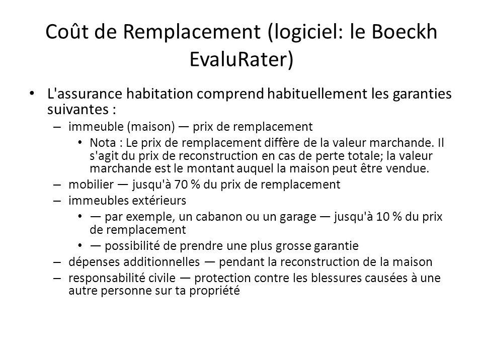 Coût de Remplacement (logiciel: le Boeckh EvaluRater) L'assurance habitation comprend habituellement les garanties suivantes : – immeuble (maison) pri