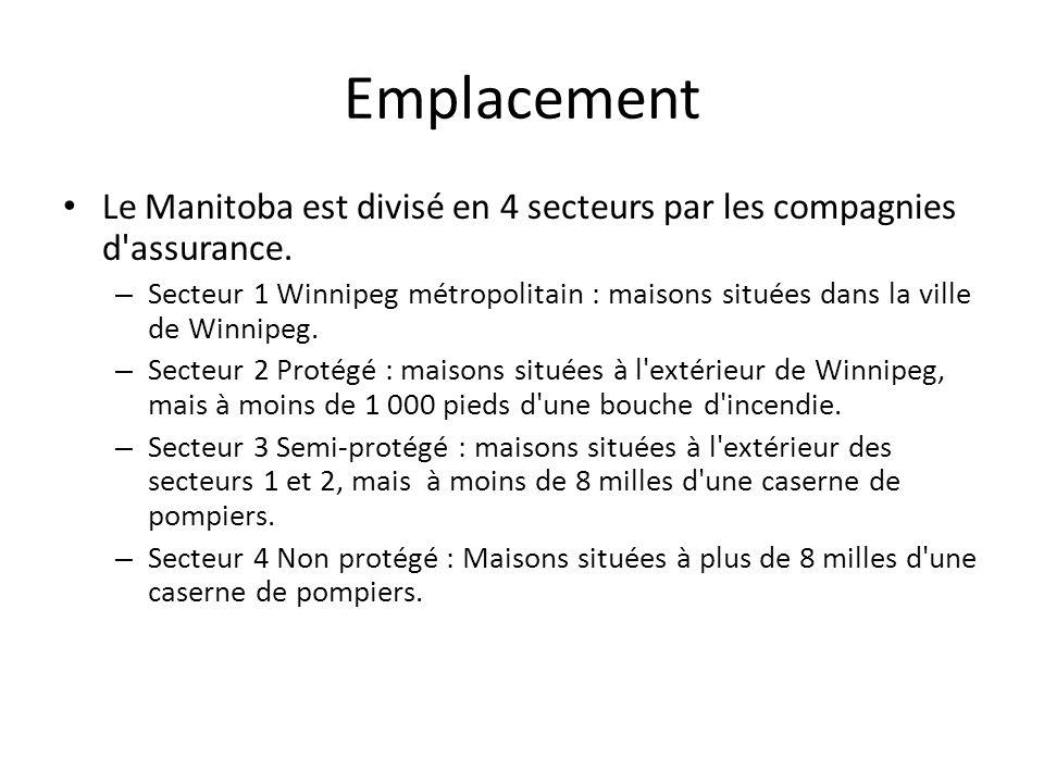 Emplacement Le Manitoba est divisé en 4 secteurs par les compagnies d'assurance. – Secteur 1 Winnipeg métropolitain : maisons situées dans la ville de