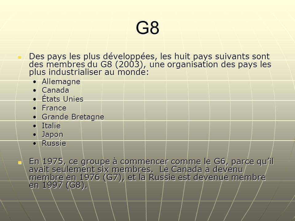 G8 Des pays les plus développées, les huit pays suivants sont des membres du G8 (2003), une organisation des pays les plus industrialiser au monde: De