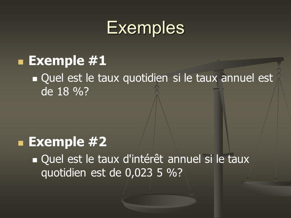 Exemples Exemple #1 Quel est le taux quotidien si le taux annuel est de 18 %.