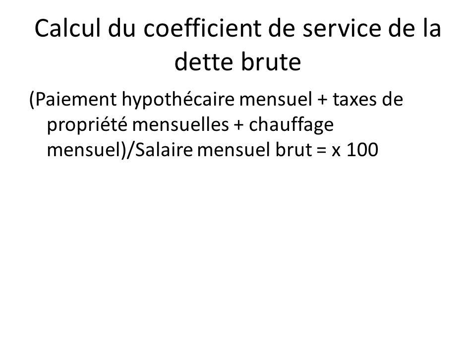 Calcul du coefficient de service de la dette brute (Paiement hypothécaire mensuel + taxes de propriété mensuelles + chauffage mensuel)/Salaire mensuel brut = x 100