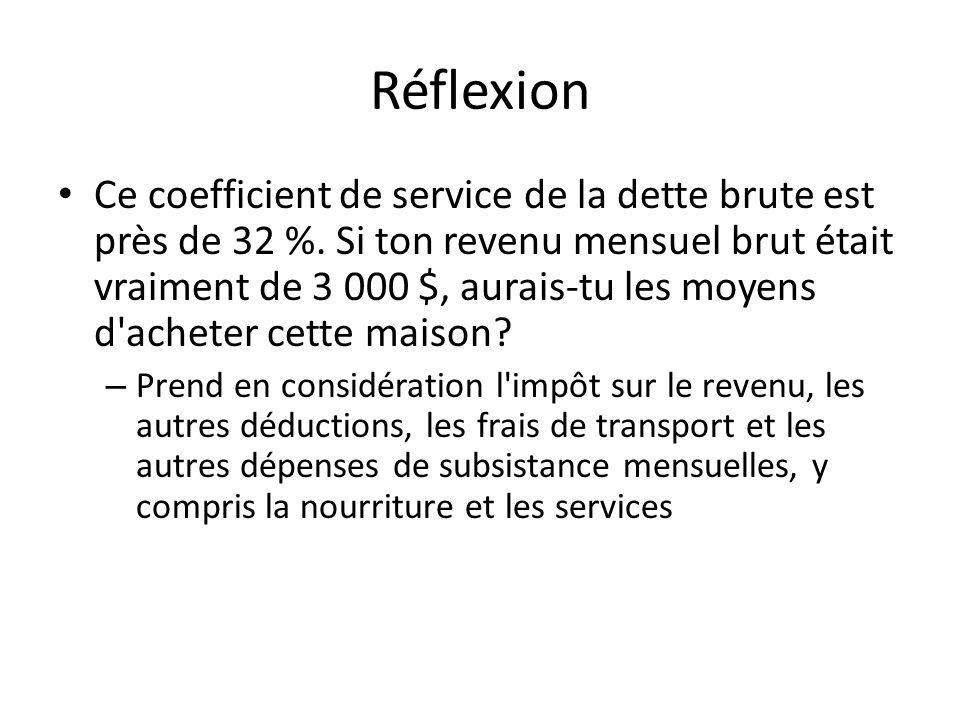 Réflexion Ce coefficient de service de la dette brute est près de 32 %.
