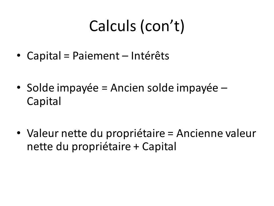 Calculs (cont) Capital = Paiement – Intérêts Solde impayée = Ancien solde impayée – Capital Valeur nette du propriétaire = Ancienne valeur nette du propriétaire + Capital