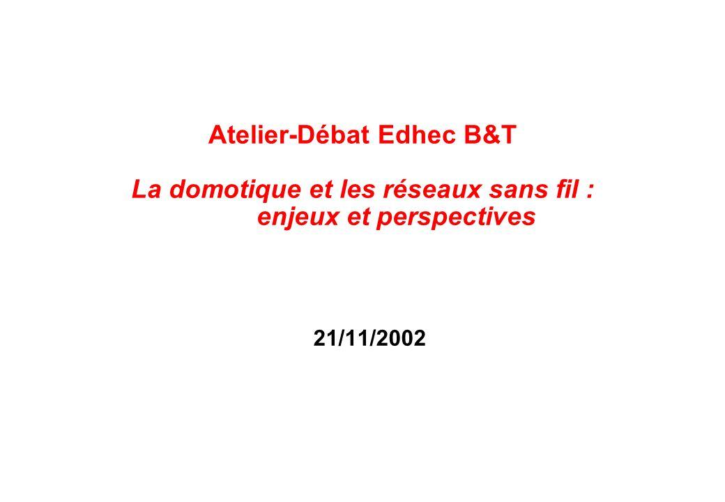 21/11/2002 Atelier-Débat Edhec B&T La domotique et les réseaux sans fil : enjeux et perspectives