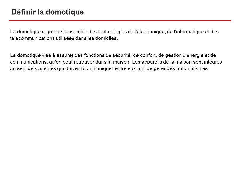Définir la domotique La domotique regroupe l'ensemble des technologies de l'électronique, de l'informatique et des télécommunications utilisées dans l