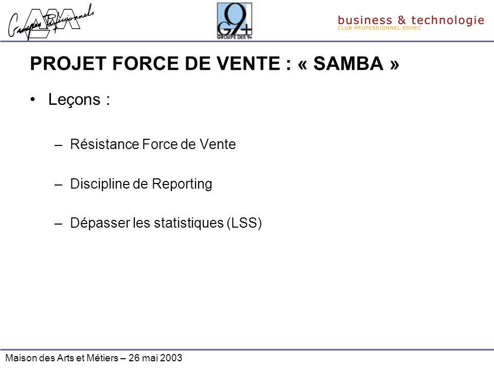 Maison des Arts et Métiers – 26 mai 2003 PROJET FORCE DE VENTE : « SAMBA » Leçons : –Résistance Force de Vente –Discipline de Reporting –Dépasser les