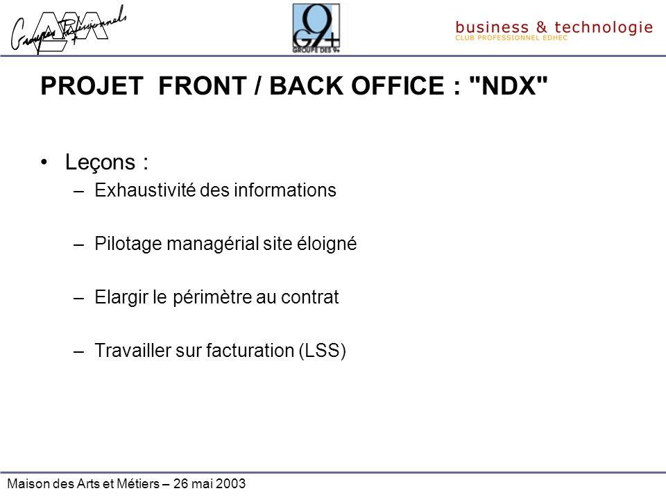Maison des Arts et Métiers – 26 mai 2003 PROJET FRONT / BACK OFFICE :