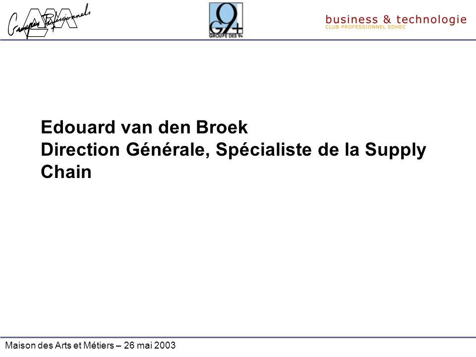 Maison des Arts et Métiers – 26 mai 2003 Edouard van den Broek Direction Générale, Spécialiste de la Supply Chain