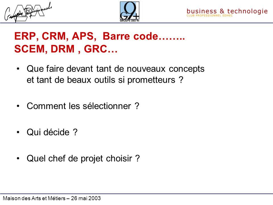 Maison des Arts et Métiers – 26 mai 2003 ERP, CRM, APS, Barre code…….. SCEM, DRM, GRC… Que faire devant tant de nouveaux concepts et tant de beaux out