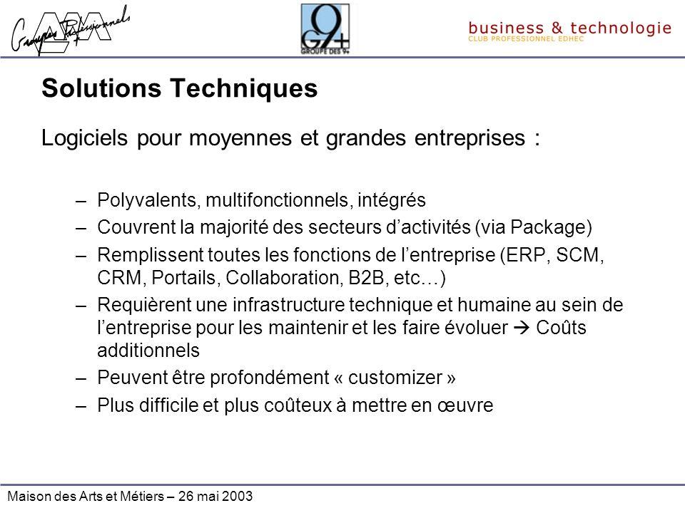 Maison des Arts et Métiers – 26 mai 2003 Solutions Techniques Logiciels pour moyennes et grandes entreprises : –Polyvalents, multifonctionnels, intégr