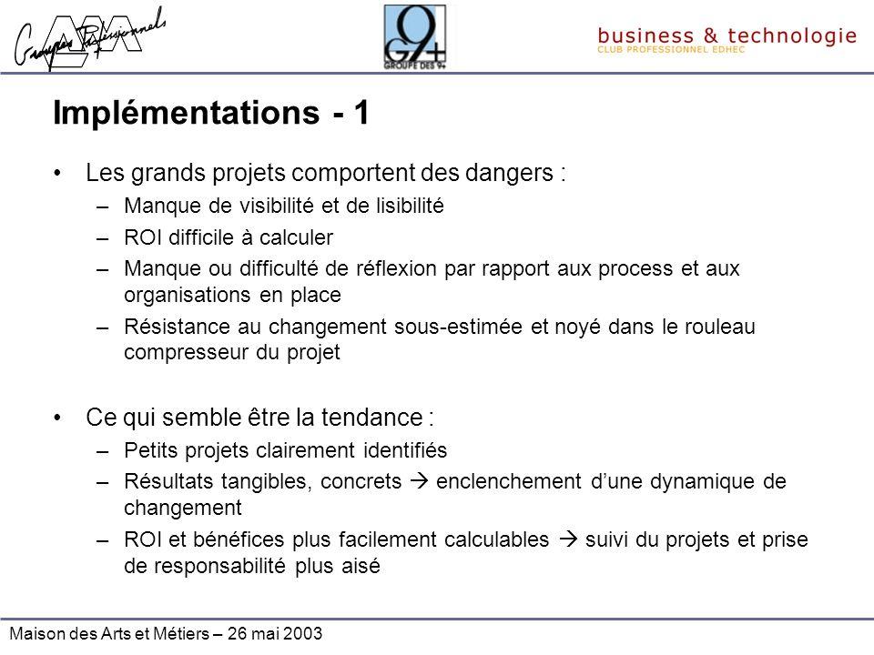 Maison des Arts et Métiers – 26 mai 2003 Implémentations - 1 Les grands projets comportent des dangers : –Manque de visibilité et de lisibilité –ROI d