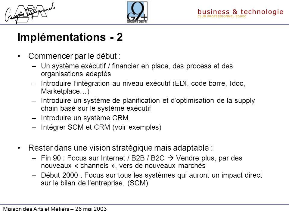 Maison des Arts et Métiers – 26 mai 2003 Implémentations - 2 Commencer par le début : –Un système exécutif / financier en place, des process et des or