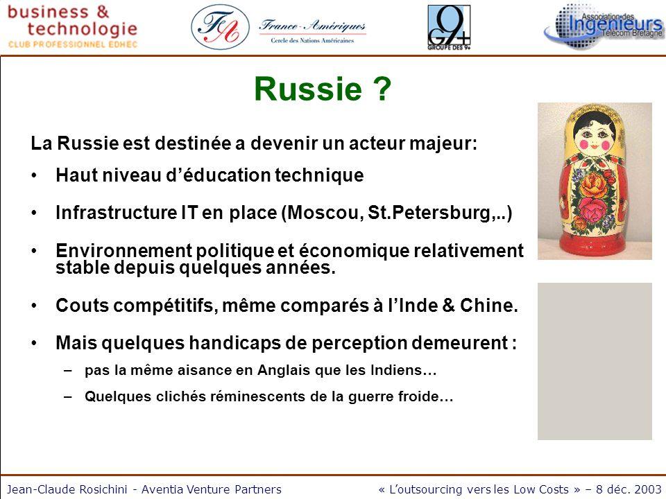 Jean-Claude Rosichini - Aventia Venture Partners« Loutsourcing vers les Low Costs » – 8 déc. 2003 Russie ? La Russie est destinée a devenir un acteur