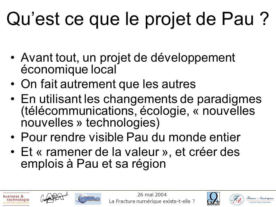 26 mai 2004 La Fracture numérique existe-t-elle . Quest ce que le projet de Pau .
