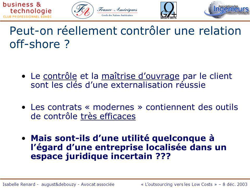Isabelle Renard - august&debouzy - Avocat associée« Loutsourcing vers les Low Costs » – 8 déc.