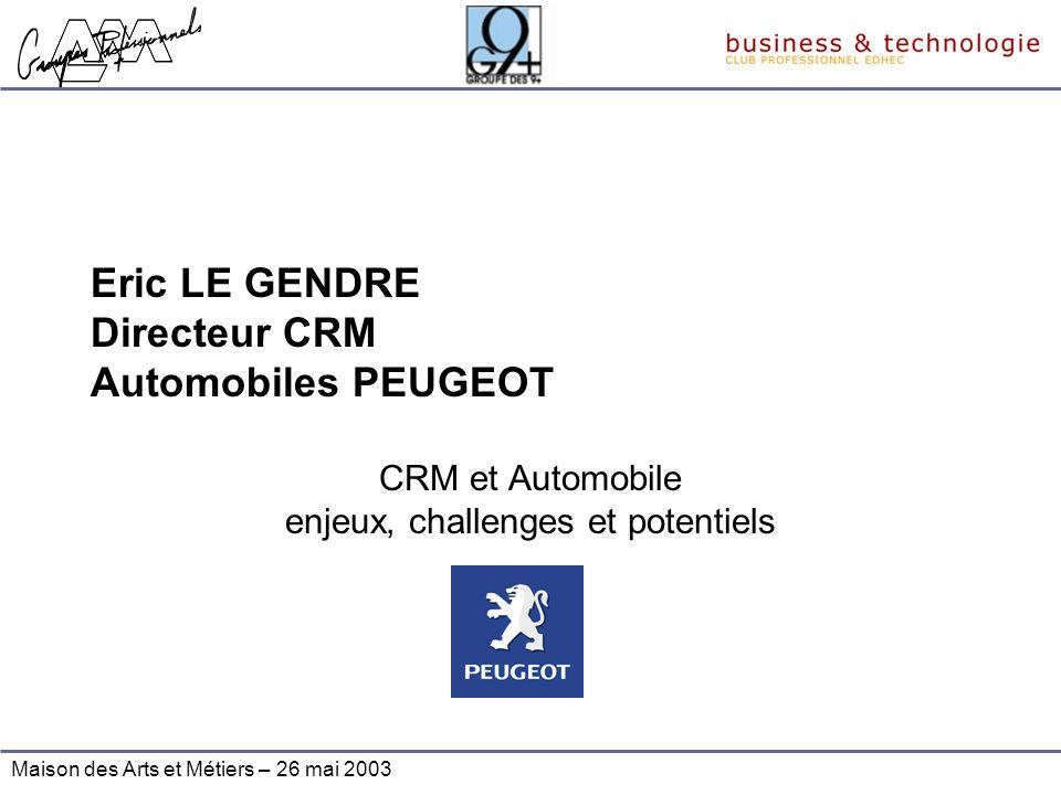 Maison des Arts et Métiers – 26 mai 2003 Eric LE GENDRE Directeur CRM Automobiles PEUGEOT CRM et Automobile enjeux, challenges et potentiels