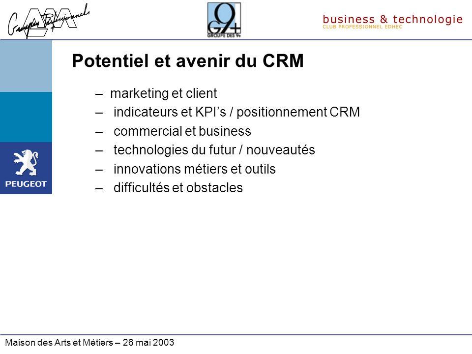 Maison des Arts et Métiers – 26 mai 2003 Potentiel et avenir du CRM –marketing et client – indicateurs et KPIs / positionnement CRM – commercial et bu