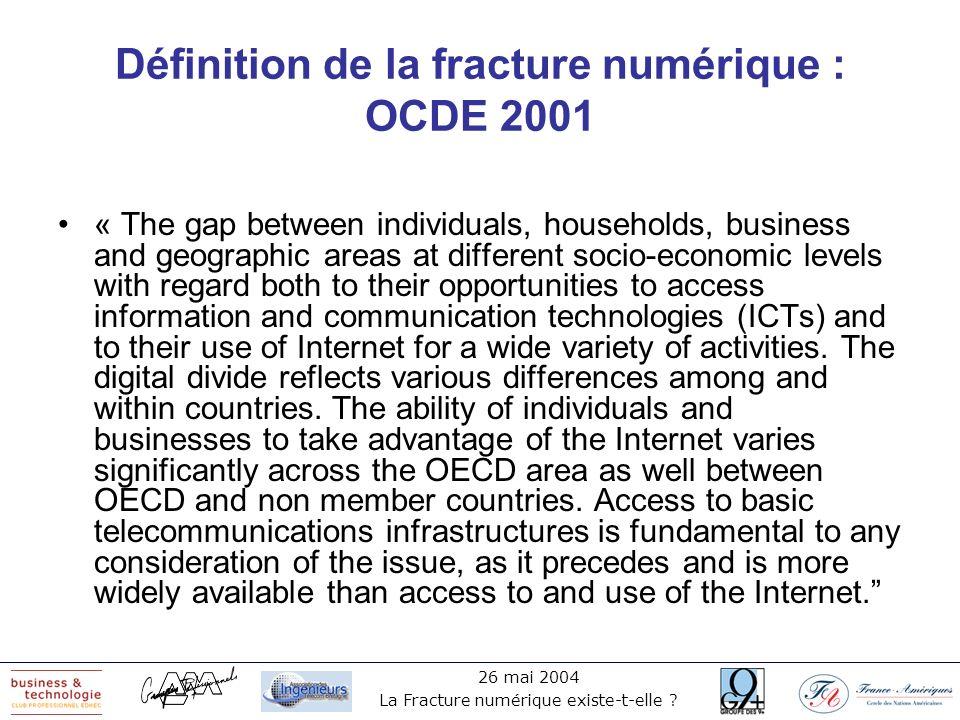26 mai 2004 La Fracture numérique existe-t-elle ? Définition de la fracture numérique : OCDE 2001 « The gap between individuals, households, business